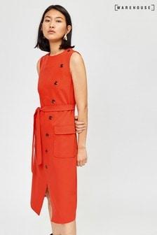 Warehouse Orange Button Sleeveless Midi Dress