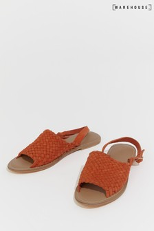 Warehouse Orange Woven Slingback Sandal