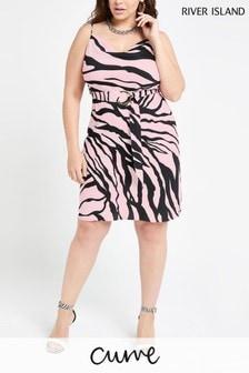River Island Pink Zebra Cowl Midi Wilson May Slip Dress