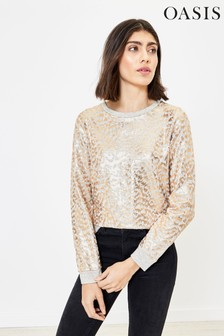Oasis Grey Textured Animal Foil Sweater