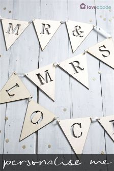 Personalised Mr and Mrs Wooden Bunting by Loveabode