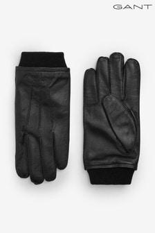 GANT Mens Black Leather Gloves