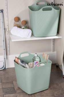 Set of 2 Wham 25Ltr Flexi-Store Graduated Square Plastic Storage Tubs