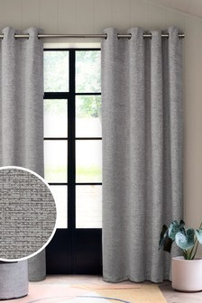 Silver Grey Textured Chenille Eyelet Lined Curtains