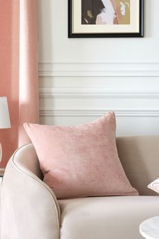 Blush Pink Soft Velour Large Square Cushion
