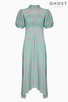 Ghost London Pink Jenna Penny Floral Print Crepe Dress