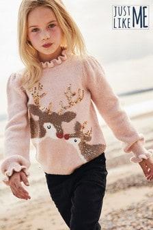 Matching Family Kids Sequin Reindeer Jumper (3-16yrs)