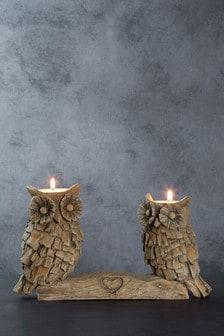 Wood Effect Owl Tealight Holders