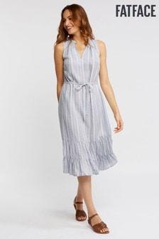 FatFace Blue Cecille Stripe Tiered Dress