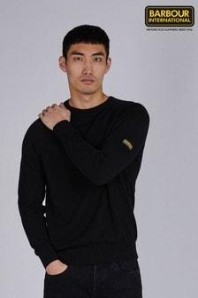Barbour® International Black Cotton Crew Neck Sweater