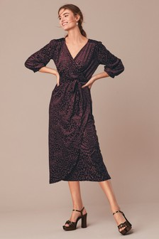 Jersey Devoré Animal Wrap Dress