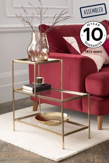 Gold and Glass Sofa Side