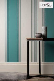 Crown Teal Synergy Stripe Wallpaper