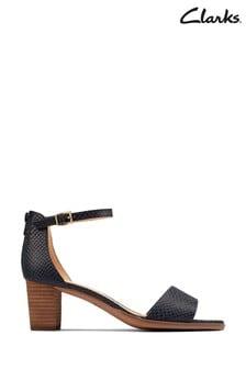 Clarks Navy Leather Kaylin60 2Part Sandals