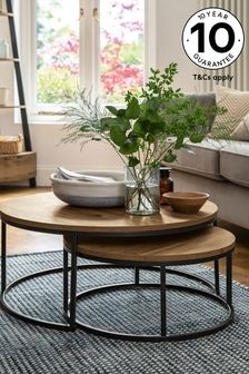 Bronx Oak Effect Round Coffee Nest of Tables