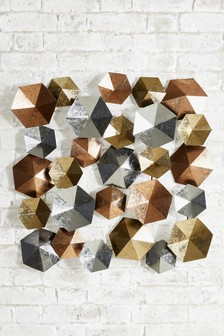 Mixed Metal Hexagonal Wall Plaque