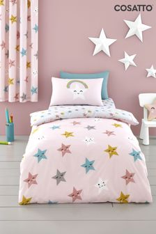 Cosatto Pink Happy Stars Duvet Cover and Pillowcase Set