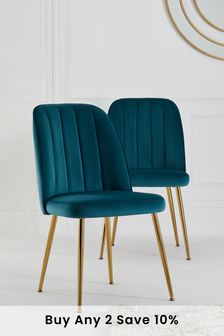 Set of 2 Stella Dining Chairs in Velvet