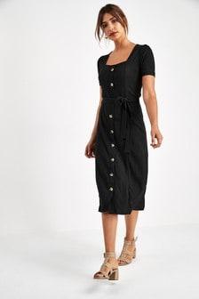 Tie Sleeve Button Dress