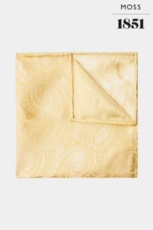 Moss 1851 Gold Paisley Silk Pocket Square