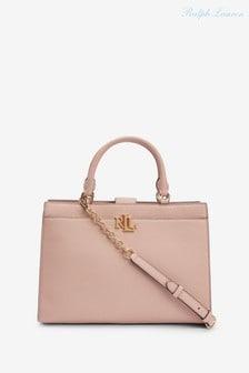 Ralph Lauren Pale Pink Laine Leather Satchel Handbag