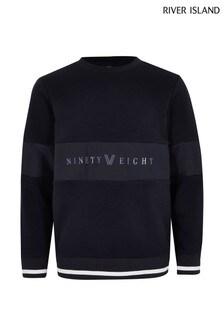 River Island Navy Hybrid Panel Ninety Eight Sweater