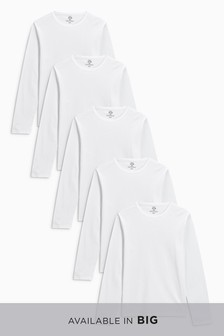Long Sleeve T-Shirts Pure Cotton Five Pack