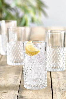 Albany Embossed Set of 4 Tall Tumbler Glasses