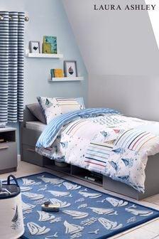 Laura Ashley Blue/White Ahoy Nautical Boats Duvet Cover and Pillowcase Set