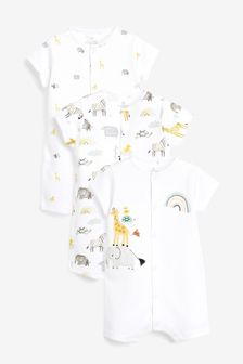 3 Pack Cotton Animal Rompers (0mths-3yrs)