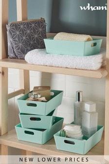 Set of 5 Wham Studio Small Rectangle Plastic Storage Baskets