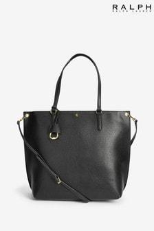 Ralph Lauren Black Vegan Leather Abby Tote Bag