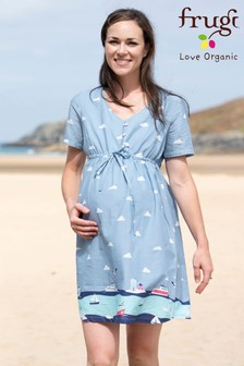 Frugi Organic Blue Bump To Breastfeeding Border Print Dress