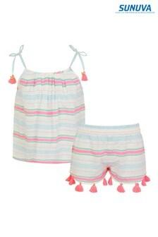 Sunuva White Stripe Strappy Short Set