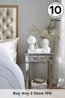 Fleur Mirrored 1 Drawer Bedside Table