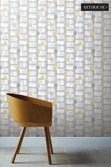 Arthouse Yellow Retro Block Geo Wallpaper