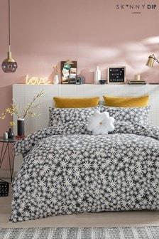 Skinnydip Black Daisy Duvet Cover and Pillowcase Set