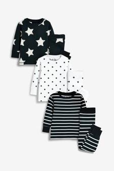Star/Stripe Snuggle Fit Pyjamas Three Pack (9mths-8yrs)