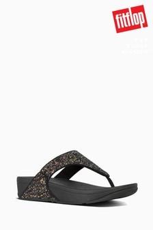 FitFlop™ Black Lulu Glitter Toe Thong Sandals