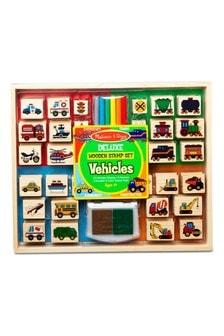 Melissa & Doug Deluxe Wooden Stamp Set Vehicles