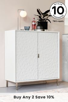Mode White Gloss Textured Drinks Cabinet