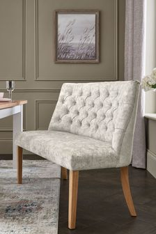 Wolton Button High Back Dining Bench With Natual Legs