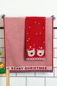 Red Set of 2 Bears Towels