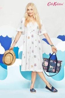 Cath Kidston® Cream Fearne Dream Ditsy Cotton Crinkle Midi Dress