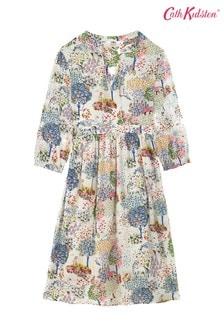 Cath Kidston® Cream Fearne Dream Forest Sushi Voile Midi Dress