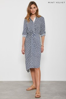 Mint Velvet Blue Samantha Midi Shirt Dress