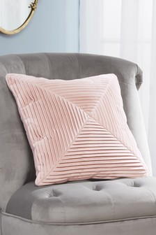 Pink Pleated Velvet Cushion