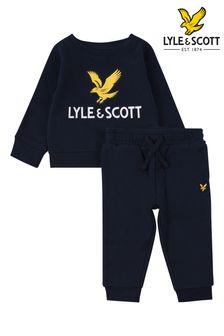 Lyle & Scott Boys Blue Eagle Logo Crew And Joggers Set