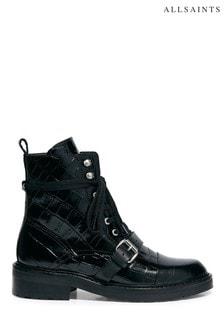 AllSaints Black Croc Donita Croco Ankle Cow Boots