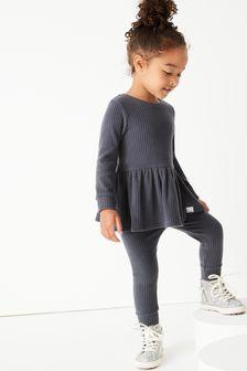 Long Sleeve Knitted Peplum Jogger Set (3mths-7yrs)